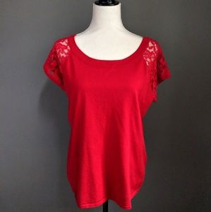 NWT Cable & Gauge Red Lace Sleeve Sweater